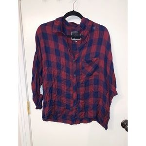 RAILS NAVY AND RED CHECKERED BUTTON DOW SIZE L